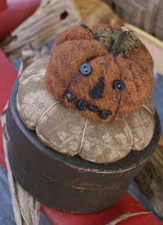 Pumpkin Pinkeep Box. I really like the idea of having a pin keep on top of a box for storing a needle-book, thimble, thread, and what-not.