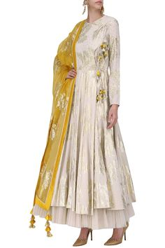 Nikasha Ivory foil printed angrakha style anarkali with churidar pants set available only at Pernia's Pop Up Shop. Dress Indian Style, Indian Dresses, Indian Wedding Outfits, Indian Outfits, Stylish Dresses, Fashion Dresses, Looks Party, Angrakha Style, Girls Dresses Sewing