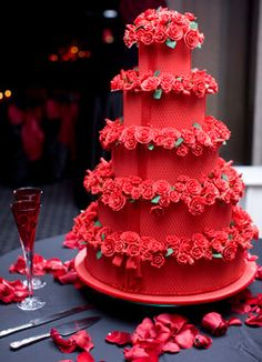 Brides.com: Best Wedding Cakes of 2009. Bold Color ChoiceKathleen and Tyson served a red velvet wedding cake by Wedding Cake Connection of Peoria, IL that featured sugar roses on each tier.