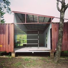 Container House shipping container home.so many possibilities! Similar to our plan but we would make the angle roof acrylic / glass for an atrium/greenhouse Who Else Wants Simple Step-By-Step Plans To Design And Build A Container Home From Scratch? Shipping Container Buildings, Cargo Container Homes, Shipping Container Home Designs, Building A Container Home, Storage Container Homes, Shipping Containers, Container Houses, Shipping Container Cabin, Container Shop