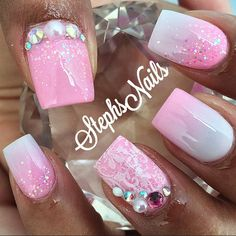 Clients loving this lace stamping plate. 💗ValentineBarbie💗 #babypink#white#acrylicombre#pinkwhiteombre#pinkglitter#glitterombre#lacestampinglate#pearls#diamonds#love#crystals#stephsnails#showmethemani#nailprodigy#nailpro