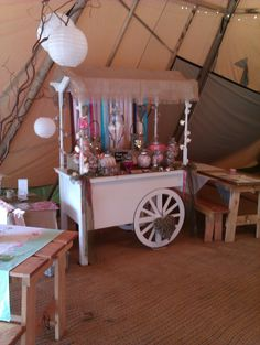 Wedding Tipi rustic candy cart Candy Cart, Bar Cart, Diy Crafts, Rustic, Wedding, Decor, Country Primitive, Valentines Day Weddings, Decoration