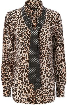 Equipment x Kate Moss Leopard Print Collar/Tie Blouse