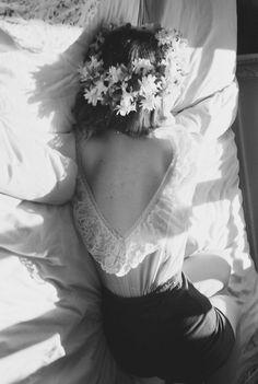 open back. lace. flower halo. love
