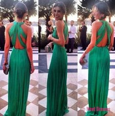 Green Prom Dress,A line Prom Dress,Chiffon Prom Gown,Backless Prom Dresses,Sexy Evening Gowns,Cheap Evening Gown,Open Back Party Dress,Beaded Formal Gowns For Teens PD20184785