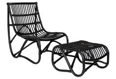 One Kings Lane - California Dreaming - Simon Chair & Ottoman, Black