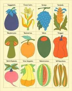 John Alcorn Vegetables — The Peculiar Manicule Illustration Inspiration, Art And Illustration, Graphic Design Illustration, Graphic Art, Vegetable Illustration, Vegetable Prints, Wall Collage, Cute Art, Art Inspo