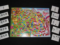 Music Candy Land. Letter the game board A-G reapeated. Then have cards with staff and piano keyboards. Name notes to move. Double letter double move just like the game.