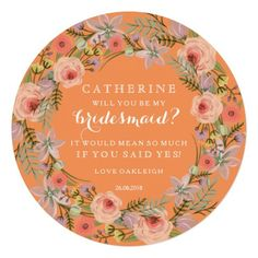 Pastel Wreath Will You Be My Bridesmaid | Orange
