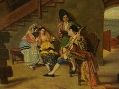 RARE BEAUTIFUL OIL PAINTINGS   RARE Beautiful 19th Century from Madrid Spain Painting Matador Singing ...