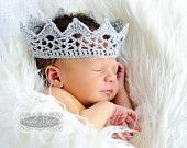 Lace Baby Crown Photo Prop. Crochet Sparkly Silver Prince or Princess Newborn Infant Costume