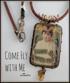 Come Fly with Me- Heavy Metal and Resin Pendant with Leather Cord
