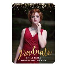 Faux Glitter Graduation Party Invitation - graduation party invitations card cards cyo grad celebration