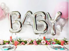 baby balloons silver letters baby shower decor balloon tassel new baby gender reveal party balloon banner foil letter balloons
