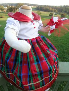 Shiny Red Holiday Christmas Plaid 9 month by SewCuteInTheCountry