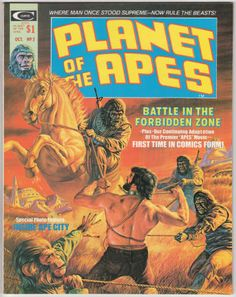 Planet Of the Apes Magazine #2, October 1974, NM, Bob Larkin cover painting, new story with Mike Ploog artwork, Chapter 2 of adaptation of the first film by Doug Moench, George Tuska and Mike Esposito, POTA articles with photos including: The City of the Apes - many production illustrations reproduced, Review of the original novel, Interview with Michael Wilson. Note: Table of Contents images are printed lightly. $35