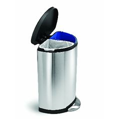 Brushed Stainless Steel Duo Double Twin Two Compartment Semi Round Recycle Touch Home Recycling Bins Simplerecycle