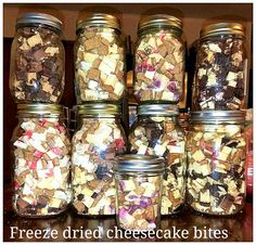Freeze dried cheesecake bites size pieces.