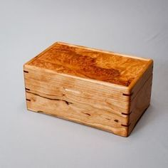 Wood Jewelry box, Memory box. Cherry body with a Coral Maple Burl lid. The Intimate 0613-012-010