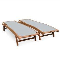 Ensemble de 2 bains de soleil en bois Marbella, transats en eucalyptus FSC huilé ALICE S GARDEN - Transat, chaise longue