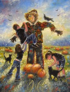 Pumpkin Patch Helping Hands Original Painting by VickieWadeFineArt
