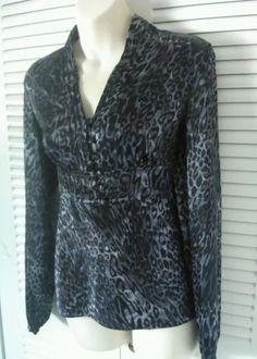 Rafaella Women Size 6 animal print long sleeved career casual blouse