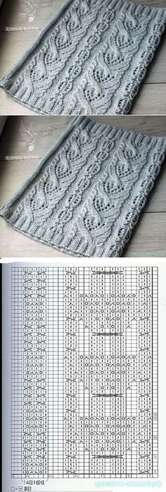 The beautiful knitting - Lochmuster stricken - Baby Hair Lace Knitting Patterns, Knitting Stiches, Cable Knitting, Knitting Charts, Knitting Designs, Knitting Socks, Knitting Needles, Stitch Patterns, Cowl Patterns