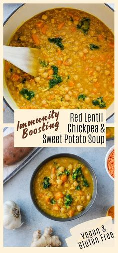 Red Lentil and Sweet Potato Soup This immunity boosting soup is made with red lentils, sweet potatoes, and chickpeas for a filling and comforting meal! It's a great way to keep your immune system healthy during cold and flu season! Lentil Potato Soup, Lentil Soup Recipes, Red Lentil Soup, Sweet Potato Soup, Healthy Soup Recipes, Healthy Cooking, Whole Food Recipes, Recipes With Sweet Potatoes, Sweet Potato Meals