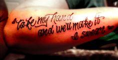 Lyrics tattoo on forearm, Bon Jovi