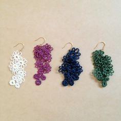 オハナ ホワイト Tatting Earrings, Tatting Jewelry, Crochet Earrings, Crochet Flower Patterns, Crochet Flowers, Crochet Lace, Needle Tatting, Tatting Lace, Lace Flowers