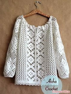 . Ethno-style. White lace blouse. - All in azure ... (crochet) - Country Mom