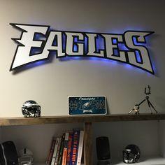 The Philadelphia Eagles Script Logo Wood Cutout is an amazing gift for the avid Philadelphia Eagles fan! Perfect for a sports fan's basement or man cave! http://www.addictedfurnishings.com