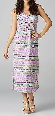 Purple & White Abstract Maxi Dress