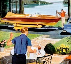 A beautiful boat and a bottle of booze - looks like a great summer day to me!  Dark Roasted Blend: Extreme Small Boats & Yachts: Retro Coolness
