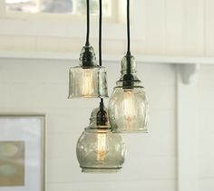 A new light fixture for over the sink. Paxton Glass 3-Light Pendant | Pottery Barn