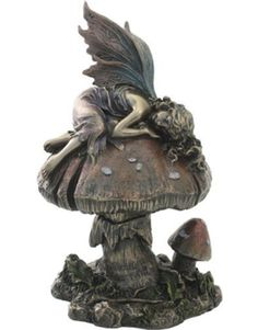 Inch Cold Cast Bronze Small Fairy Sleeping On Mushroom Statue Eclectic  Statues And Figurines