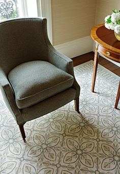 Howard Chair, SH163. #Schumacher.  Love the rug.