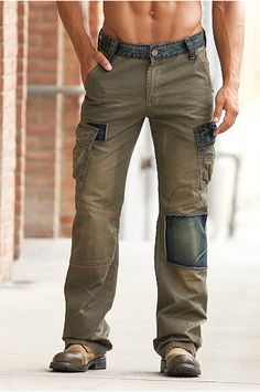 Smash - Oliver Mens Cargo Pants -- Smash took classic cargos and updated them with denim trim and patches. The result is a unique, worn-looking design that's packed with rugged personality. Perfect for casual days, the Smash Oliver cargo pants are made with soft enzyme-washed cotton twill with denim waistband, belt loops, zip fly, angled side pockets, side cargo pockets. Straight leg with seaming detail at the knees.