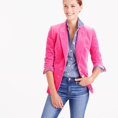 """Our newest blazer features a tailored, feminine fit, custom gold buttons and pretty velvet that's perfect for the (holiday) season. Take a look inside and you'll discover something we like to call """"interior design,"""" or those special hidden details that we don't have to spend time on, but do. Think striped lining and contrast piping, plus a handkerchief pocket for stashing things like headphones or your favorite lipstick. <ul><li>Body length: 27 1/4"""".</li><li>Sleeve length: 32…"""