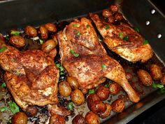 Roasted Half Chickens rubbed with Extra Virgin Olive Oil, Oregano, Garlic, Porcini Dust, Kosher Salt, Black Pepper, Hungarian Paprika, Sherry...Small whole Potatoes roasted in the pan..finished with Fresh Parsley
