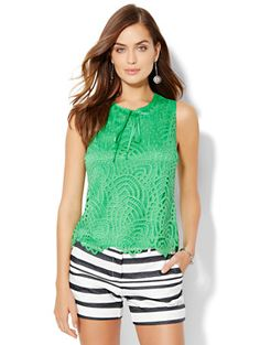 Shop Contrast-Tie Lace Shell. Find your perfect size online at the best price at New York & Company.