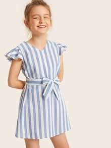 To find out about the Girls Flutter Sleeve Striped Belted Dress at SHEIN, part of our latest Girls Dresses ready to shop online today! Kids Outfits Girls, Girl Outfits, Cute Outfits, Fashion Outfits, Cute Dresses, Dresses With Sleeves, Girls Dresses, Natural Clothing, Frock Design