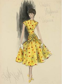 EDith Head sketch of Givenchy gown.