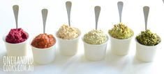 8 HEALTHY DIPS FOR KIDS: Homemade dips are cheap and simple to make, not to mention delicious and contain no nasty additives or preservatives. Children also love to 'dip' so you can introduce a range of new flavours and textures in a non-confronting way #onehandedcooks