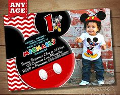 HUGE SELECTION Chevron Mickey Mouse Invitation, Mickey Birthday Invitation, Mickey Mouse Clubhouse, Photo Invitations, Mickey Printables