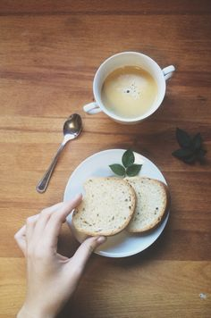 Grain bread + coffee with milk. @sther_re