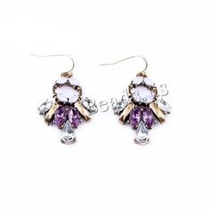 Fashion Statement Earring, Zinc Alloy, with rubber earnut & Crystal & Resin, brass earring hook, antique bronze color plated, faceted, nickel, lead & cadmium free, 45x25mm,china wholesale jewelry beads