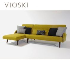 Vioski: Brandon sectional- lovely retro, Mid-Century sectional in a mustard yellow