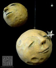 Pixie Hill: November 2011, moon mobile of paper clay