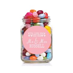 Wedding sweet table accessories uk gallery wedding dress details about 48 x circular candy buffet sweet bar stickers labels personalised mr mrs love heart junglespirit Choice Image